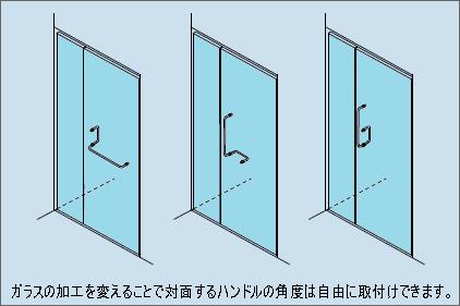 ガラスの加工をか変えることで対面するハンドルの角度は自由に取付けできます。
